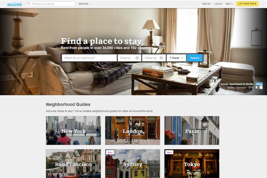 The Airbnb website homepage. www.airbnb.com